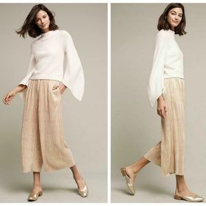 Elevenses Anthropologie Pleated Gold Wide Leg Pant